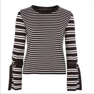 EUC TOPSHOP Black White Stripe Top Buckle Cuffs